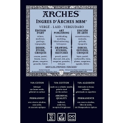 Ingres d'Arches MBM Natural White 130gr 50x65cm Laid Text-%75 Cotton-Pastel